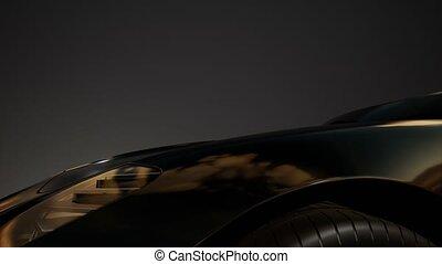 luxury sport car in dark studio with bright lights