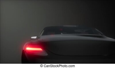 luxury sport car in dark studio with bright lights