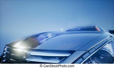 luxury sport car in the blue studio