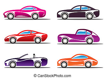 Luxury sport cars silhouettes