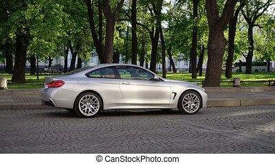 Luxury sports car in a city - Luxury sports car parking in a...