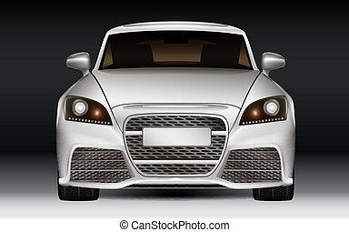 Luxury sports car - Silver modern luxury sports car, front...