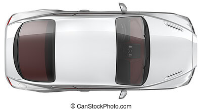 Luxury sports coupe car - Top view - Luxury sports coupe car...