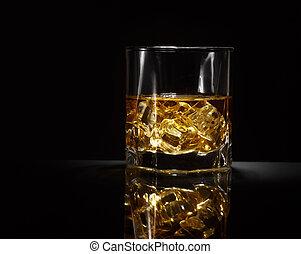 Luxury still life of whisky glass