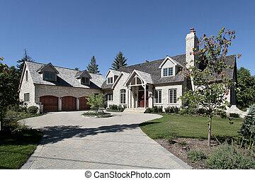 Luxury stone home in suburbs