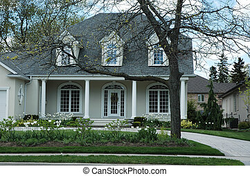 Luxury Stucco House - Luxury stucco house with white trim...