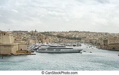 Luxury super yachts moored at Manoel Island, Malta