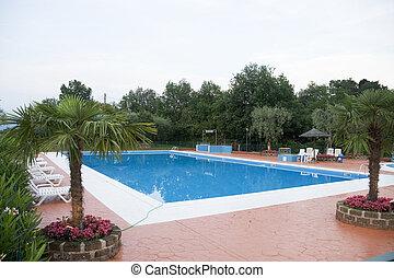 Luxury swimming-pool - luxury swimming-pool with palm-trees