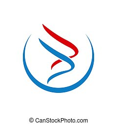 Luxury swoosh wing logo template with blue red color