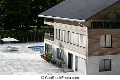 Luxury Three Story Wood Sided House With Swimming Pool Surrounded By Red Spruce Trees