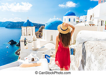 Luxury travel vacation Europe holiday Santorini girl in hat ...