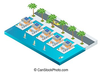 Luxury tropical hotel resort with palm tree, cabriolet,yacht and sea. Travel summer trip destination and beach resort hotel square concept for infographics collection. Vector illustration