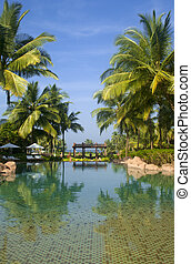 Luxury tropical resort. Vertical