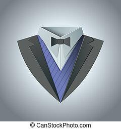 Luxury tuxedo. Origami Vintage theme. Dinner jacket Classic expensive theme. Vector.