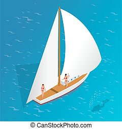 Luxury vacation on a yacht in the sea. Romantic vacation and luxury travel. Sailing the sea. Human scuba diver swimming under water. Flat 3d vector isometric illustration.