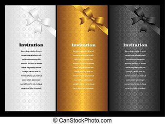 Luxury vertical invitation cards with ribbon bow. Vector ...