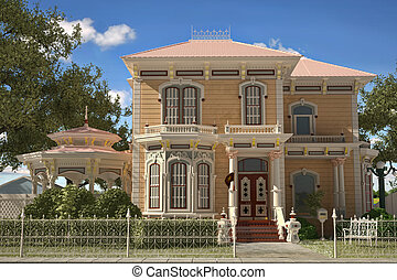 Luxury Victorian style house exterior. Frontal view, with gazebo and garden.
