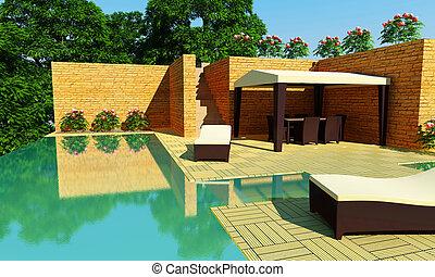 Luxury Villa garden - Day time - Outdoor luxury villa with...