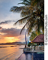 Luxury villa on sunset - Sunset over Balinese coastline