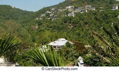 Luxury villas on mountain slope. Drone view of luxury houses located amidst exotic trees on green mountain on sunny day on tropical island.
