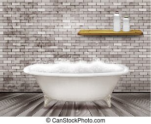 Luxury vintage bathtub with soap foam in bathroom. Vector illustration