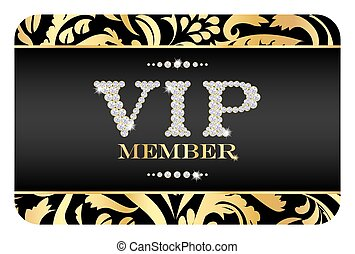 VIP member badge on black card with floral pattern. VIP ...