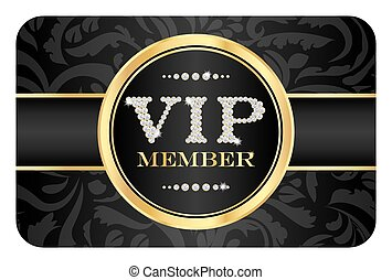 Luxury VIP member badge on black card with floral pattern. VIP composed from small diamonds