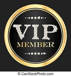 Luxury VIP member badge. VIP composed from small diamonds