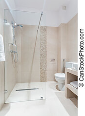 Luxury washroom in pastel colors - Interior of luxury...