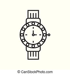 luxury watch, jewelry related outline vector icon