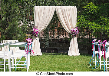 Luxury wedding arch with rose flowers