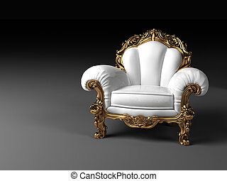 Luxury white armchair with golden frame