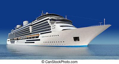 cruise ship - luxury white cruise ship shot at angle at...