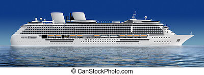 cruise ship - luxury white cruise ship shot at angle at...