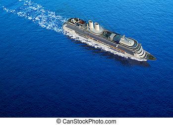 cruise ship - luxury white cruise ship shot bird\'s eye view...