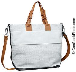Luxury white female bag isolated on white background