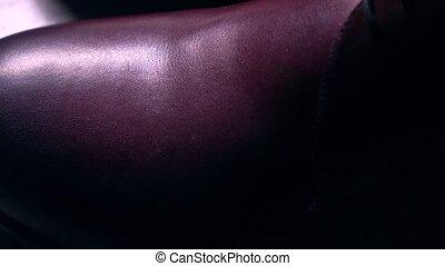Luxury wholecut leather mens shoes. 4K pan racking focus...