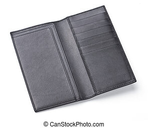 luxury wide black leather wallet isolated on white