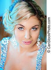 Luxury woman in fashionable dress in rich interior - Luxury...