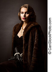 Luxury Woman in Fur Coat, Fashion Model Beauty Portrait, Old Fashioned Well Dressed Lady