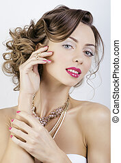 luxury woman with jewelry, rings, nails
