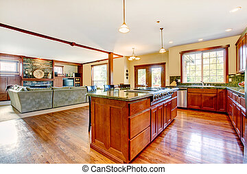 Luxury wood kitchen with living room with b