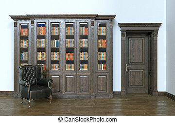 Luxury wooden interior library with leather armchair. 3d render.