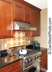 Luxury wooden kitchen with stainless steal stove.