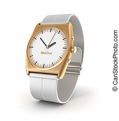 Luxury wrist watch in gold color isolated on white...