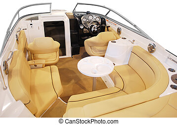luxury yacht cabin interior with leather seats and table