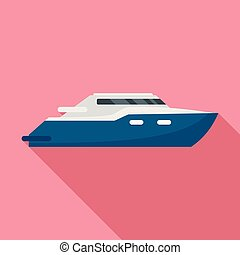 Luxury yacht icon, flat style