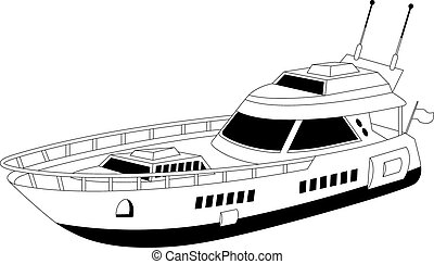 Luxury yacht - Illustration of a luxury yacht over white ...