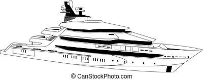 Luxury yacht - Illustration of a luxury yacht over white...