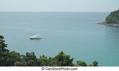 Luxury yacht in Phuket bay, Thailand clip